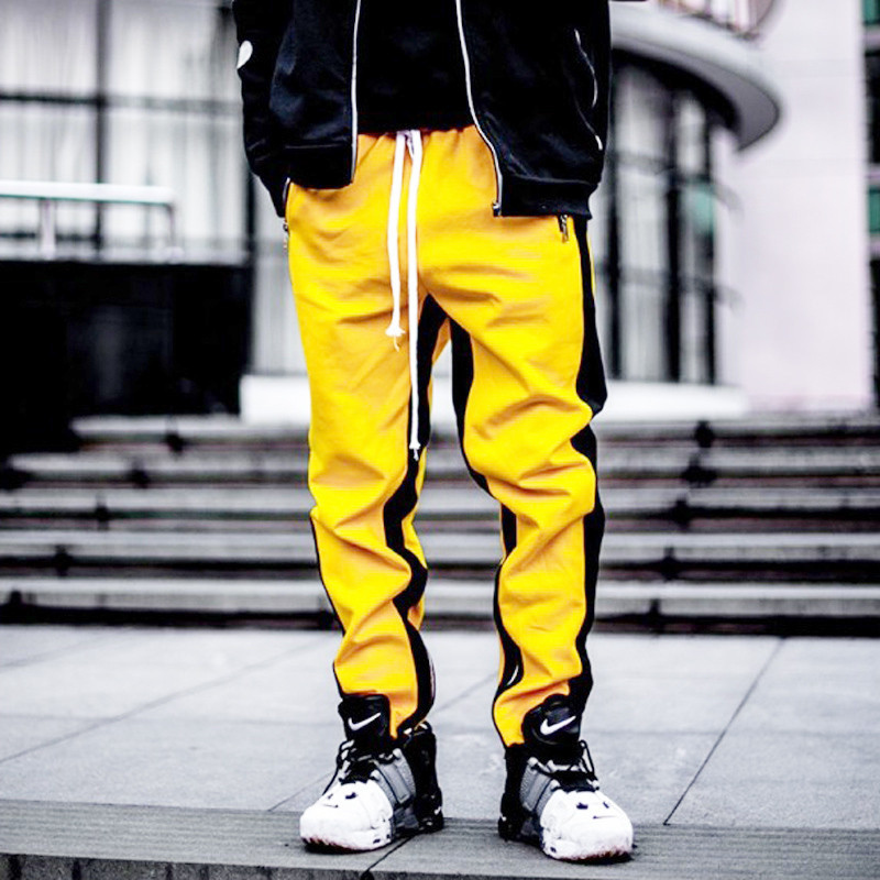 Hot New Western Street Stylish Fashion Casual Color Patchwork Men's Sweatpants Zipper Pocket Slim Track Pants Skinny Streetwear