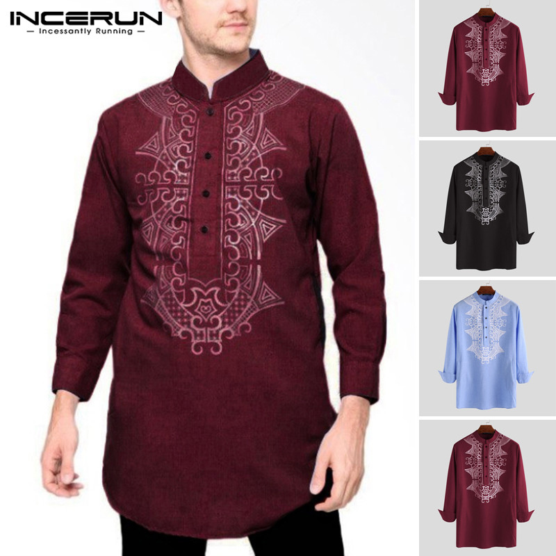 INCERUN Men Shirt Printed Indian Clothes Retro Long Sleeve Tops Streetwear Vintage Stand Collar 2020 Casual Long Shirt Plus Size