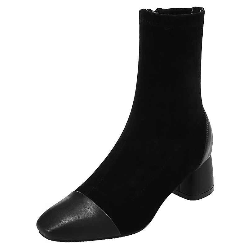 Осенние ботинки; женская обувь; роскошные дизайнерские женские ботинки; модель 2019 года; женские мартинсы на массивном каблуке; модная летняя обувь на молнии