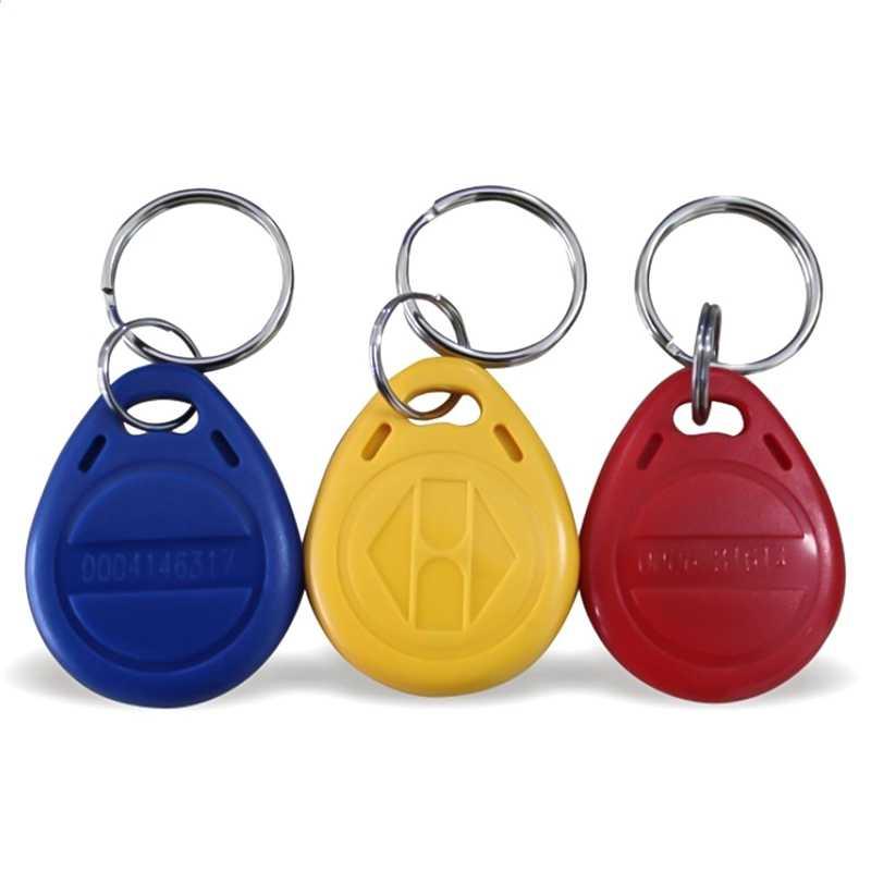 EM4100 Crachá Adesivo Cartão de Etiquetas RFID Fob Chave ID 125khz Keyfob Token Ring Proximidade Cartão de Controle de Acesso de Chip Livre grátis 10pcs