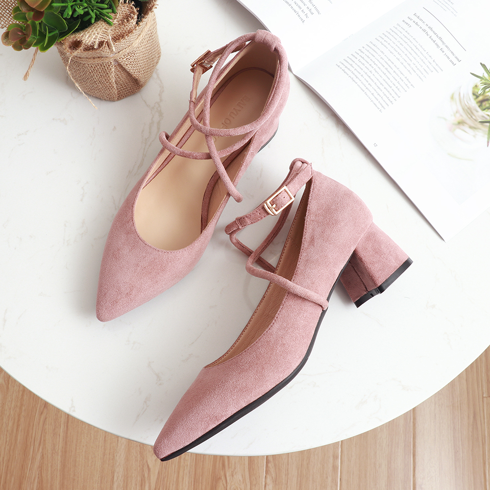 2020 Women Pumps Shoes Middle Heels Square heel Party ladies shoes pink luxury designer Spring 4.5CM HEEL