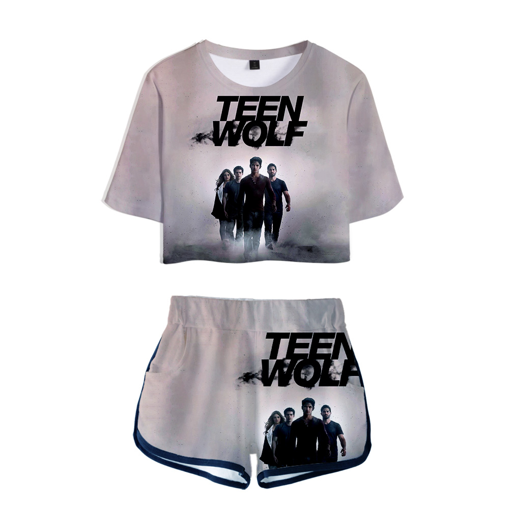 Teen Wolf Science Fiction 3D Custom Tracksuit Women Two Piece Set Summer Short Sleeve Crop Top+Shorts Girls Casual Streetwear