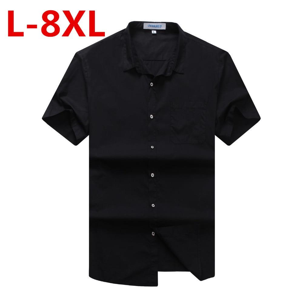 Plus Large Size 8XL 7XL 6XL 5XL 4XL  New Summer Short Sleeve Twill Pure Color Business Dress Shirts Formal Work Shirts Men