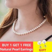 ASHIQI ожерелье-чокер с натуральным пресноводным жемчугом, 8-9 мм, белые, круглые жемчужные украшения, подарки для женщин
