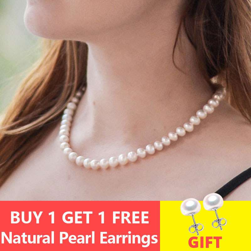 ASHIQI Real Natural Freshwater Pearl Choker Necklace 8-9mm White Near Round Pearl Jewelry Gifts For Women