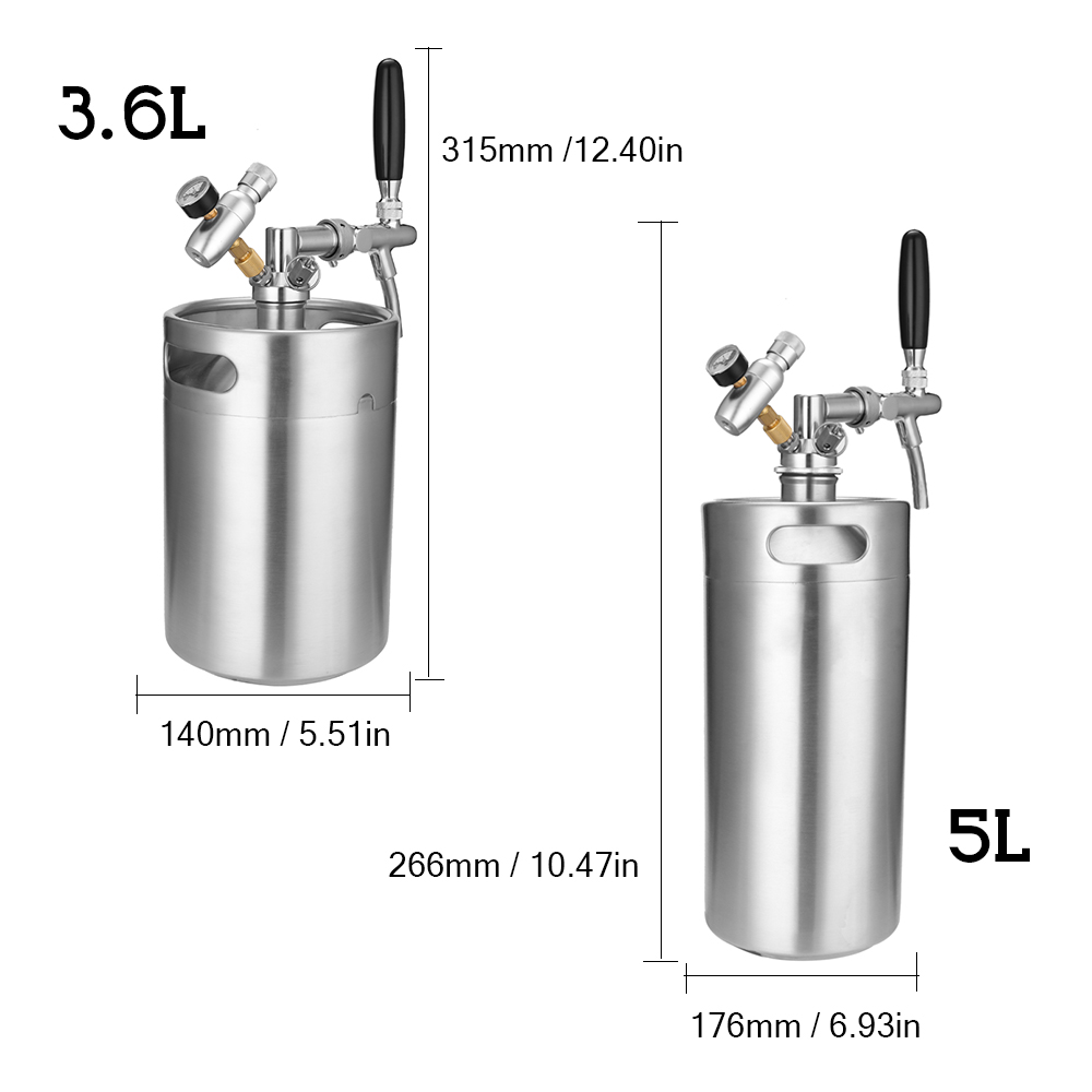 5L/3L Stainless Steel Mini Beer Keg Pressurized Growler and Adjustable Tap and CO2 Injector German Beer Festival Wine Barrel image