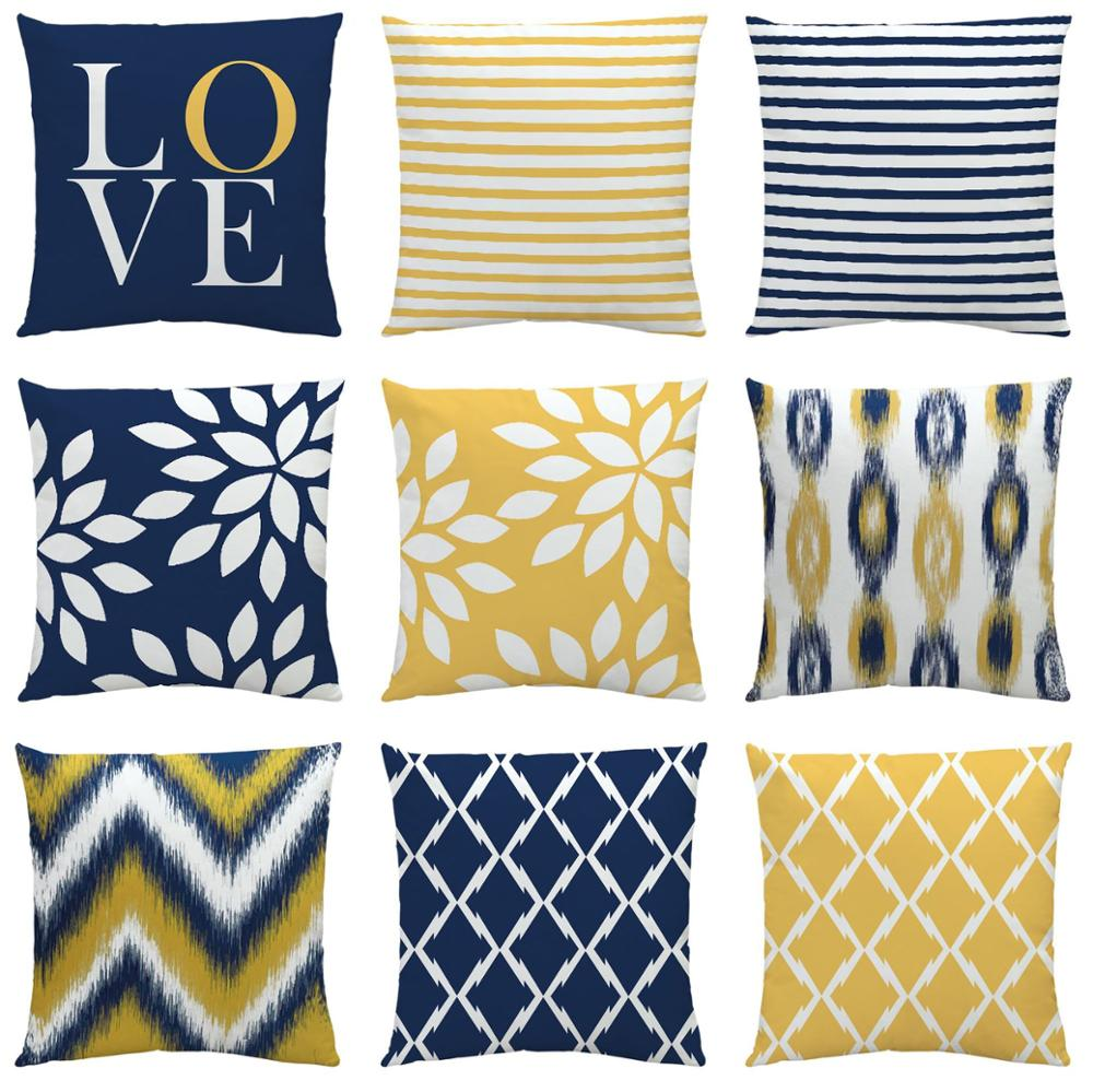 Cushion Cover Blue Yellow Geometry Decorative Pillows Case Linen Cotton Creative Home Decoration for Sofa Countryside