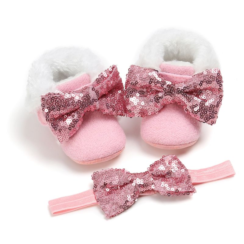 Newborn Baby Infant Toddler Girl Boots Crib Shoes Prewalkers Snow Winter Warm Princess Baby Shoes With Headband