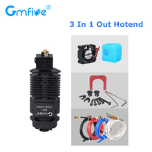 GmFive 3 In 1 Out Hotend Extruder Kits Multi Color J-head Bowden Extruder 1.75MM Filament 12/24V Fan For CR10 3D Printer Parts 3d printer new 3 colors 3 in 1 out extrusion compatible with e3d bulldog and mk8 printer remote extruder for 1 75mm filament