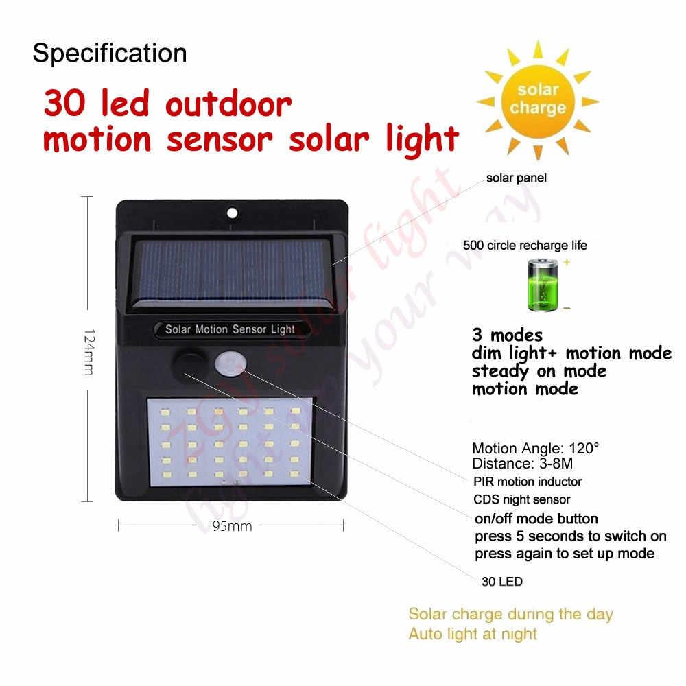 2/4 шт. Солнечный Мощность движения PIR Сенсор 30 светодиодный солнечный светильник Настенный светильник в/открытый сад лампа безопасности 500 лм гирлянды le