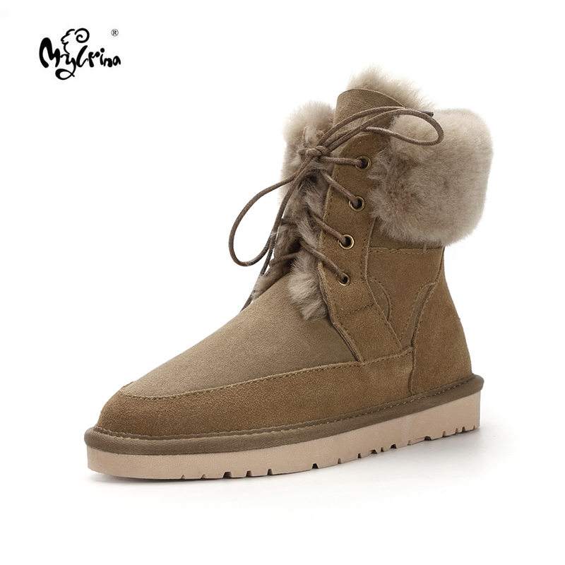High Quality Women's Australia Fashion Snow Boots Real Sheepskin Leather Natural Fur Winter Boots Brand Womens Warm Shoes