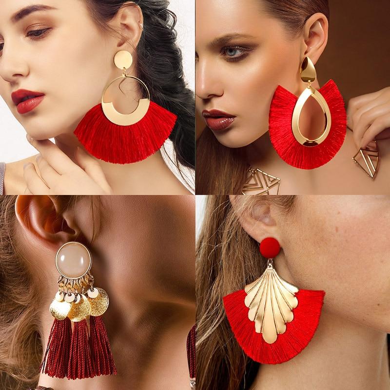 BLINLA Fashion Bohemian Big Tassel Dangle Drop Earrings For Women Statement Wedding Red Fringe Female Earrings Za 2019 Jewelry