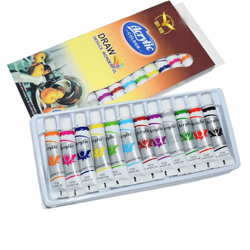 12 Ml 12 Kleur Professionele Acryl Verf Set Hand Geschilderde Muur Verf Buizen Kunstenaar Tekenen Schilderen Pigment Buizen Schilderen Sets