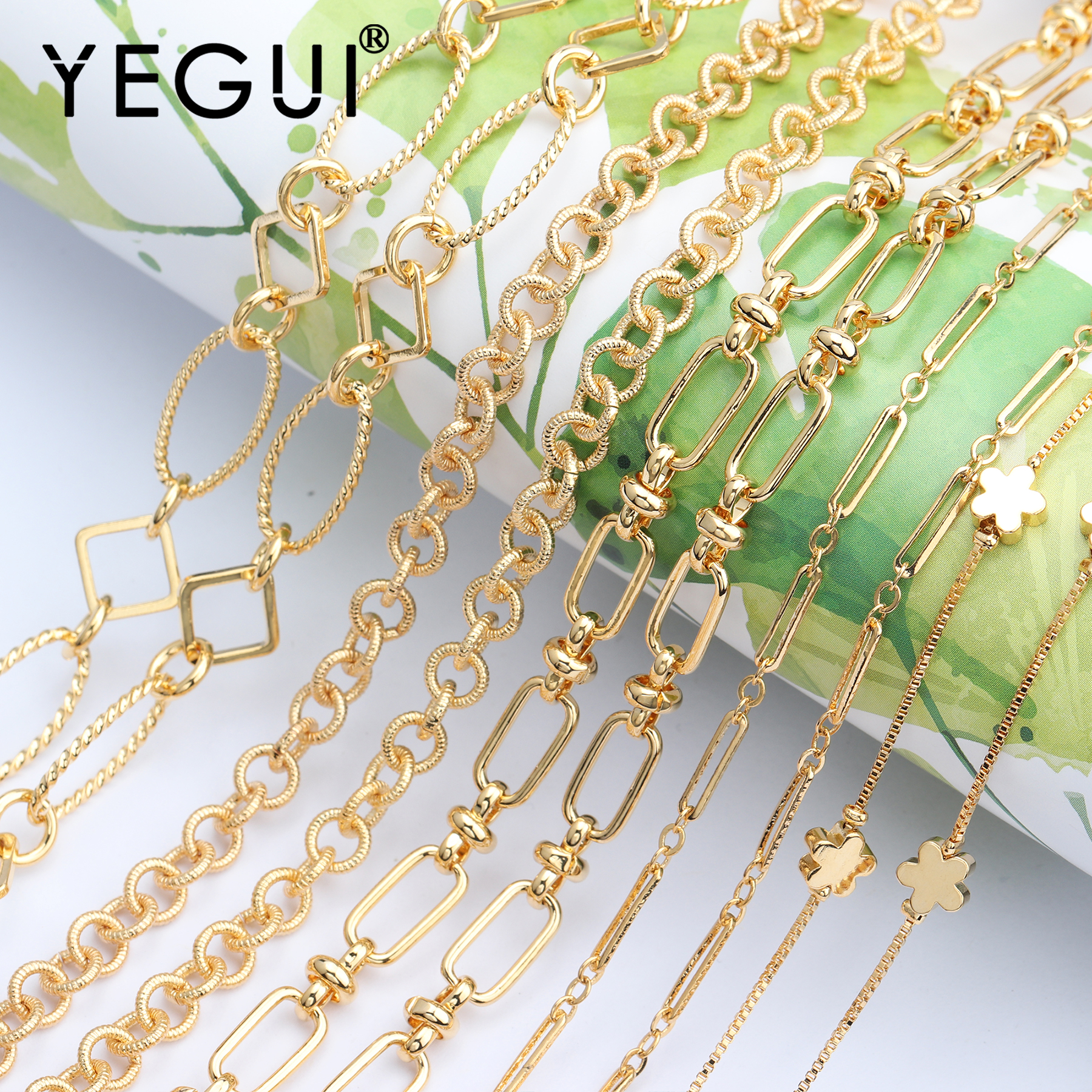 YEGUI C54,18k Gold Plated,jewelry Accessories,goldon Chain,jewelry Making,hand Made,jewelry Findings,diy Chain Necklace,1m/lot