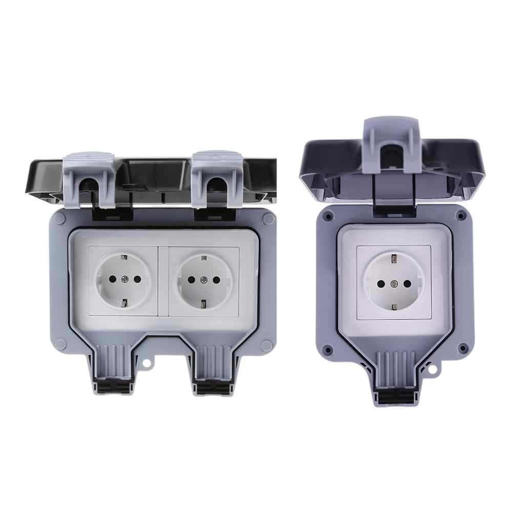 Ip66 Weatherproof Waterproof Outdoor Wall Power Socket 16a Eu Standard Electrical Outlet