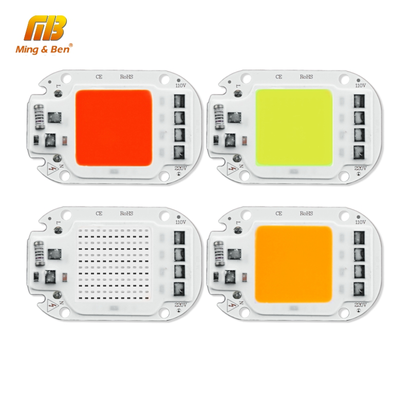 10PCS LED COB Lamp Chip AC110V 220V 20W 30W 50W Smart IC DIY For LED Floodlight Decor Red Green Blue Yellow Cold Warm Day White