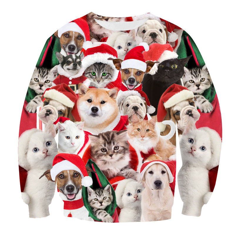 Christmas Sweater 3d Antler Print Novelty Funny Christmas Sweater Unisex Men Women O Neck Long Sleeve Pullover Jumpers Sweater