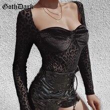 Goth Dark Leopard Print Gothic Bodysuits Vintage Grunge Punk Longsleeve Autumn Winter 2019 Bodysuits Transparent Punk Chic Sexy