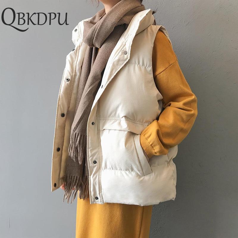 Cotton Coat Outwear Winter Vest Women Plus Size Autumn Thick Warm Vest Casual Coat Turn-down Collar Solid Coat Office Lady Wear
