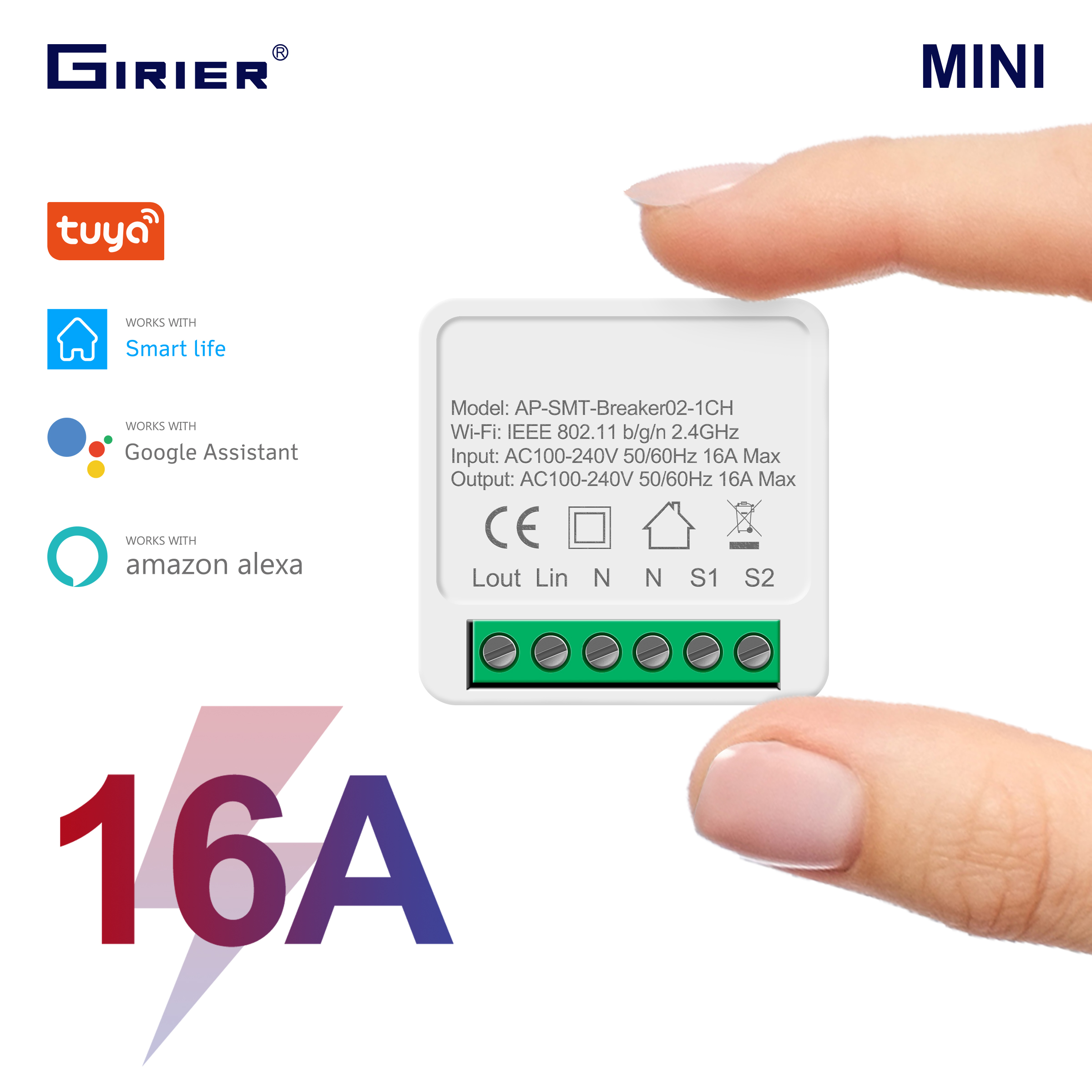 16A Mini Smart Wifi DIY Switch Supports 2 Way Control Smart Home Automation Module Works with Alexa Google Home Smart Life App