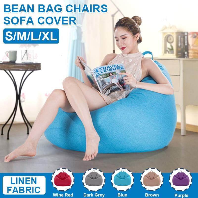 S/M/L/XL Lazy Sofas Cover Chairs without Filler Linen Cloth Lounger Seat Bean Bag Pouf Puff Couch Tatami Living Room Furniture