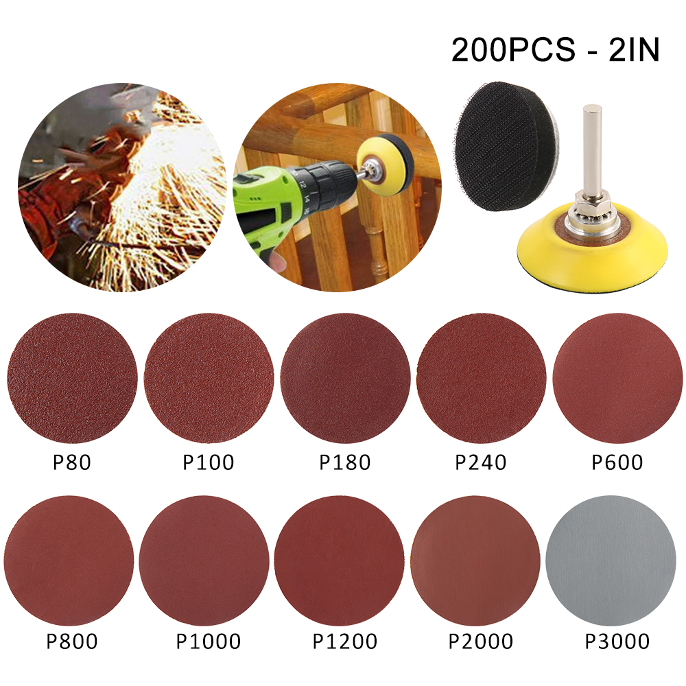 200pcs 80/180/240/800/1000/2000 Grits Sanding Disc Set + Hook Backed Panel Metal Shank For Polishing Cleaning Tools