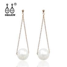 DREJEW Long Stainless Steel Chain Pearl Statement Earrings 2019 925 Crystal Alloy Drop for Women Fashion Jewelry HE5301