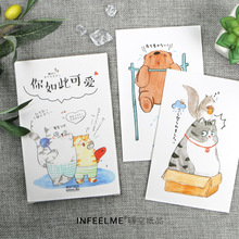 Postcard Greeting-Card Animals Birthday-Gift-Card 30-Sheets/Set Hand-Painted Cute You-Are-So