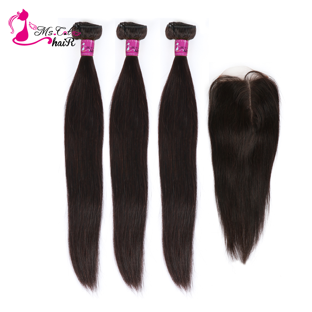 Ms Cat Hair 3 Bundles Deal with Closure 4 Pcs/Lot Brazilian Straight Hair Remy Human Hair Bundles With Closure & Baby Hair-in 3/4 Bundles with Closure from Hair Extensions & Wigs