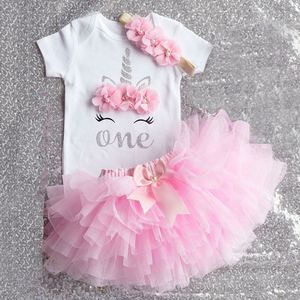 Cotton Romper+Flower Headband+tutu Dress 1 Year Old Baby Girl Clothes First Birthday Party Children Clothing Infant Baptism Gown