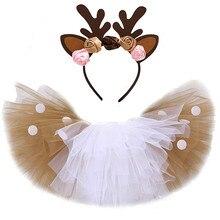 Natal veados tutu saia para meninas crianças rena traje da criança do bebê menina veados saia halloween crianças roupas para o aniversário