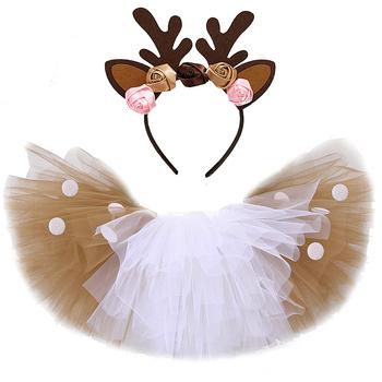 Christmas Deer Tutu spódnica dla dziewczynek dzieci renifer kostium maluch dziewczynka Deer spódnica Halloween stroje dziecięce na urodziny tanie i dobre opinie Funkidsandme Na co dzień CN (pochodzenie) Pasuje prawda na wymiar weź swój normalny rozmiar NYLON Aplikacje JY-199 Powyżej kolana Mini