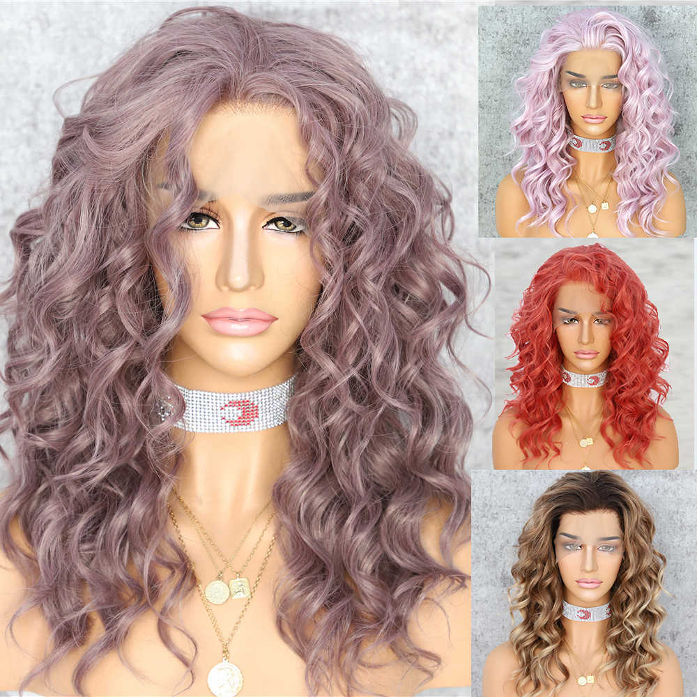 Lvcheryl krótkie kręcone syntetyczna koronka przodu peruki kawy fioletowy kolor włosów naturalne żaroodporne włosy bezpłatne rozstanie peruki dla kobiet