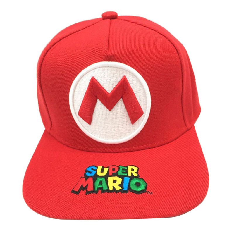 Wholesale Mario Stitching Embroidery Child Girl Baseball Cap Cosplay Flat Casual Hip Hop Hat Travel Outdoor Sun Hat