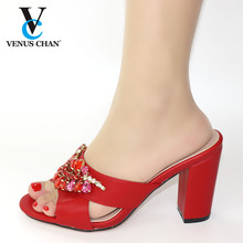 Red Color Shoes for Wedding Slippers Summer High Heels High Quality African Sandals Heels Pumps Italian Women Shoes for Party