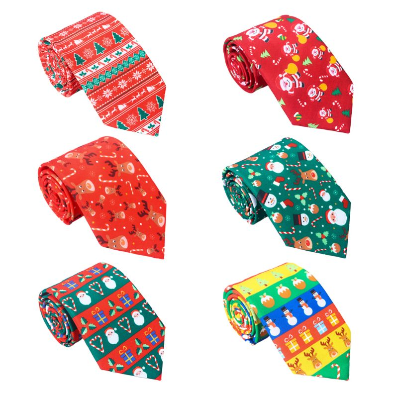 Men Christmas Neckties Novelty Cute Xmas Tree Printed Holiday Party Fun Ties M6CD