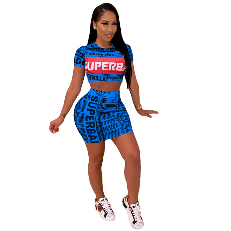Women's Printed Two-piece Sexy Club Dress With Round Neck And Short Sleeves