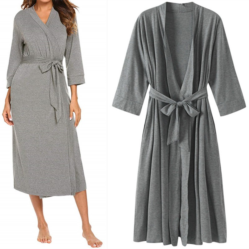Gray Kimono Gown Female Kimono Robe Homewear Nightwear Sexy Mini Sleepwear Nightgown Comfortable Casual Soft Wedding Robe