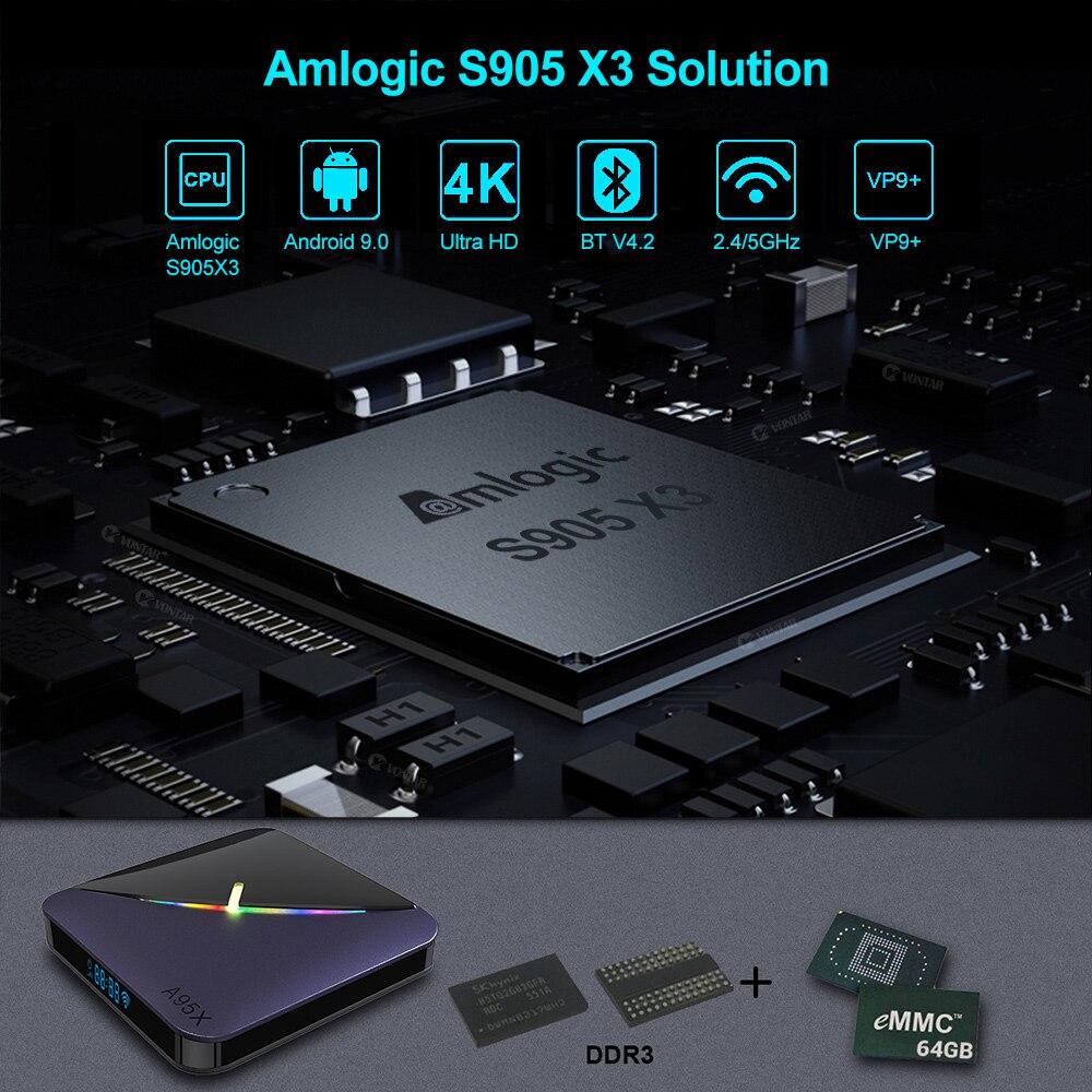 A95X F3 RGB Licht TV Box Android 9,0 Amlogic S905X3 4GB 64GB 32GB Dual Wifi 8K 60fps Netflix plex Media Server 2GB 16G A95XF3 X3