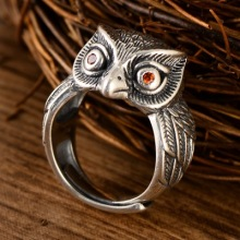 925 Thai silver retro owl patronus silver ring opening adjustable Thai silver ring