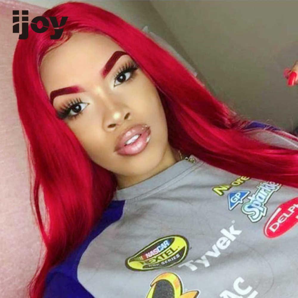 """Rechte Gekleurde Pruik 13X4 Lace Front Burgundy Red 10 """"-30"""" 150 Dichtheid Braziliaanse Menselijk Haar pruik Pre Geplukt Cosplay Non-Remy Ijoy"""
