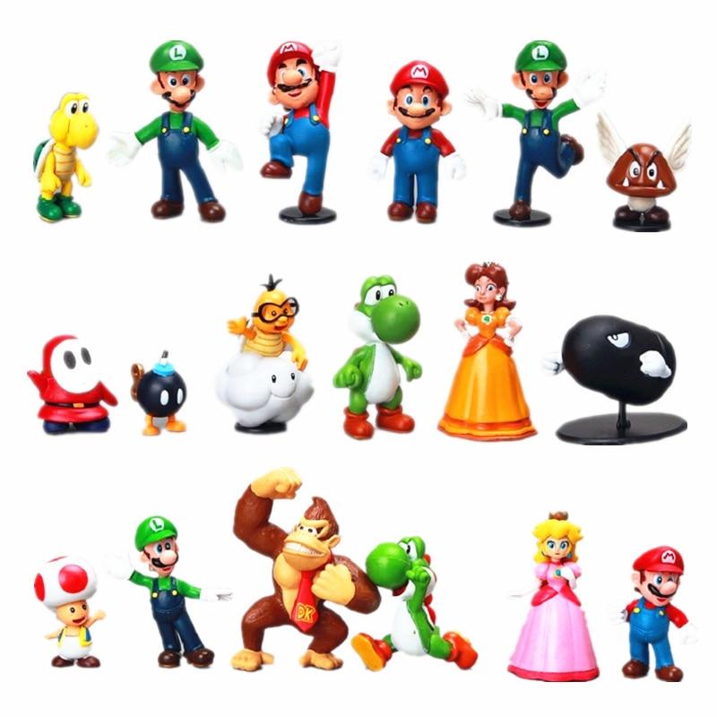 18Pcs/Lot Super Mario Bros PVC Action Figures Toys Yoshi Peach Princess Luigi Shy Guy Odyssey Donkey Kong Model Cartoon Dolls