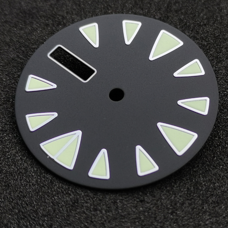 28.5mm Black sterile dial luminous marks date window watch dial suitable for NH36 automatic movement