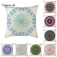 Fuwatacchi Mandela Pattern Cotton Linen Throw Pillow Cushion Cover Car Home Sofa Bed Decorative Pillowcase Funda Cojin Pillows