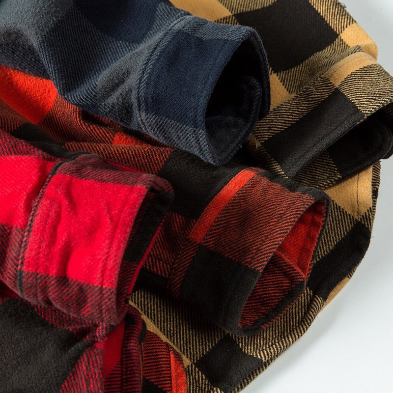 100% cotton heavy weight retro vintage classic red black spring autumn winter long sleeve plaid shirt for men women 5