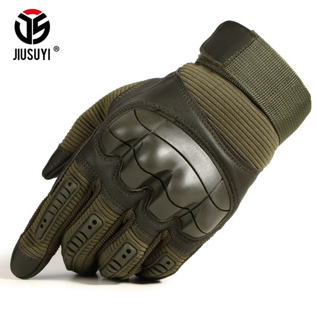 Full Finger Tactical Army Gloves Military Paintball Shooting Airsoft Bicycle Combat PU Leather Touch Screen Rubber Hard Knuckle 2
