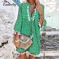 2021 Summer New Vintage Print A-Line Dress Women Elegant V-Neck Tassel 3/4 Sleeve Party Dresses Ladies Casual Loose Boho Dress