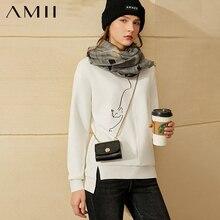 Amii Minimalism Winter Fashion Hoodies For Women Causal Oneck Animal Embroidery Fleece Sweatshirt Women Pullover Tops 12030400