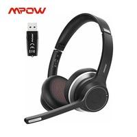 Mpow HC5 con adattatore USB auricolare Bluetooth 5.0 cablato senza fili per Call Center Driver 22h tempo di conversazione CVC 8.0 microfono con cancellazione del rumore