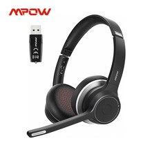 Mpow hc5 com adaptador usb sem fio bluetooth 5.0 fone de ouvido para call center driver 22h tempo de conversação cvc 8.0 cancelamento de ruído mic